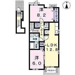 愛知県北名古屋市法成寺法師堂の賃貸アパートの間取り
