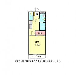 愛知県一宮市起字用水添の賃貸アパートの間取り