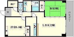 難波ノーブルM・U[13階]の間取り
