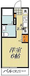 APEX平井 2階ワンルームの間取り