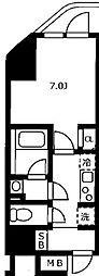 JR山手線 浜松町駅 徒歩3分の賃貸マンション 8階1Kの間取り