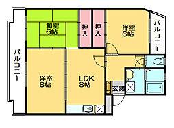 サンハイツKUDO[2階]の間取り