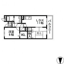 フィールドパークII番館[202号室号室]の間取り