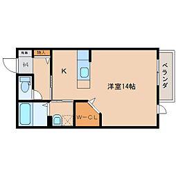近鉄大阪線 大和八木駅 徒歩12分の賃貸アパート 2階ワンルームの間取り
