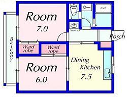 サンハイツHAMA[102号室号室]の間取り