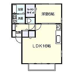 ドエル福島D[202号室]の間取り