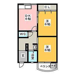マンション岡[2階]の間取り