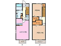 三重県鈴鹿市稲生塩屋2丁目の賃貸アパートの間取り
