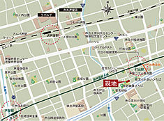 現地案内図(阪神・JRの2線3駅利用可能)