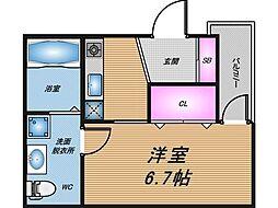 Osaka Metro谷町線 天神橋筋六丁目駅 徒歩9分の賃貸テラスハウス 3階1Kの間取り