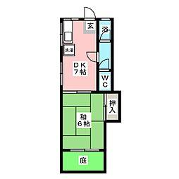 ファミール太子[1階]の間取り