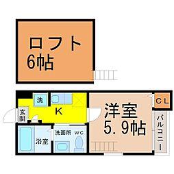 ピノ・ノワール新守山[1階]の間取り