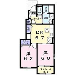 JR豊肥本線 東海学園前駅 5.6kmの賃貸アパート 1階2DKの間取り
