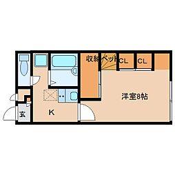 奈良県生駒郡斑鳩町法隆寺西の賃貸アパートの間取り