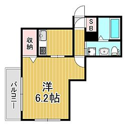 アクエリアス神戸 2階1Kの間取り