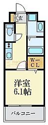 福岡市地下鉄空港線 大濠公園駅 徒歩9分の賃貸マンション 2階1Kの間取り