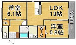 福岡県福岡市城南区片江5丁目の賃貸アパートの間取り