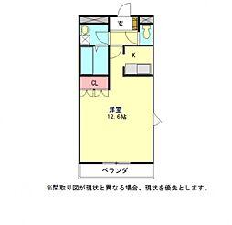 愛知県一宮市八幡3丁目の賃貸マンションの間取り