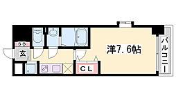 Luxe神戸WEST 8階1Kの間取り