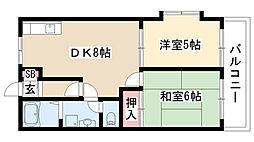 愛知県名古屋市緑区姥子山4丁目の賃貸アパートの間取り