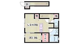 JR東海道・山陽本線 西明石駅 3.5kmの賃貸アパート 2階1DKの間取り