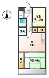 愛知県清須市阿原宮前の賃貸マンションの間取り