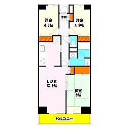 プロスペール谷塚 壱番館[703号室]の間取り