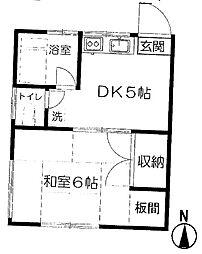 東京都杉並区阿佐谷北6丁目の賃貸アパートの間取り