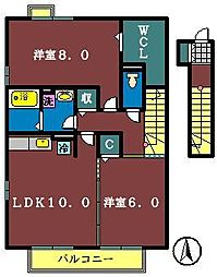 ソレーユ津田沼[203号室]の間取り