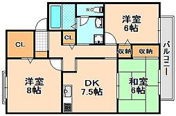 兵庫県伊丹市鴻池6丁目の賃貸アパートの間取り