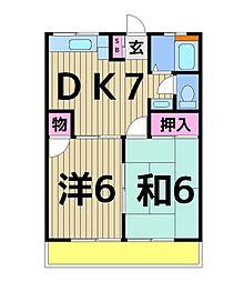 ダコタハイツ[3-B号室]の間取り