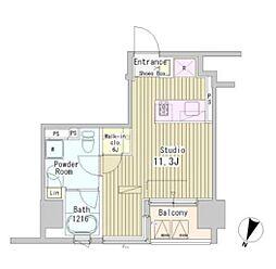 JR総武線 市ヶ谷駅 徒歩7分の賃貸マンション 4階ワンルームの間取り