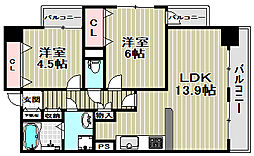 プライムハイツ南花田[5階]の間取り