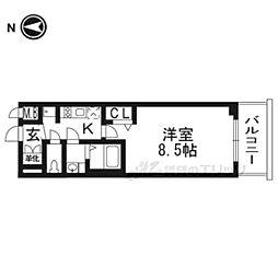 京都市営烏丸線 十条駅 徒歩3分の賃貸マンション 3階1Kの間取り