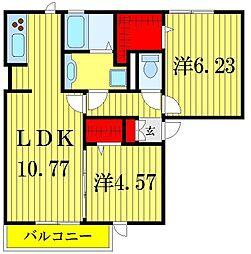 東京都葛飾区水元4丁目の賃貸アパートの間取り
