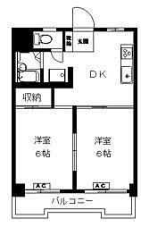 こがねマンション 5階2DKの間取り