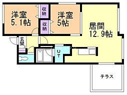 ブランシャール東屯田通 1階2LDKの間取り