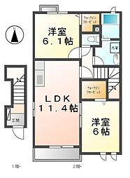 愛知県清須市春日弐屋敷の賃貸アパートの間取り