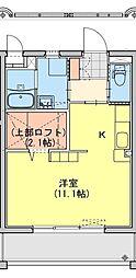 (仮称)都城牟田町マンション南棟 5階ワンルームの間取り