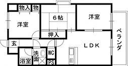 リーガルハイツ 吉原2 吉田9分[7階]の間取り