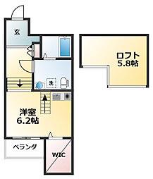 近鉄南大阪線 今川駅 徒歩5分の賃貸アパート 1階ワンルームの間取り