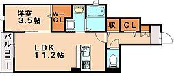 西鉄天神大牟田線 白木原駅 徒歩17分の賃貸アパート 1階1LDKの間取り