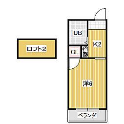 愛知県名古屋市中川区的場町2丁目の賃貸アパートの間取り