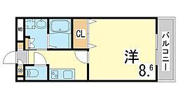 神戸市西神・山手線 学園都市駅 徒歩3分の賃貸マンション 4階1Kの間取り