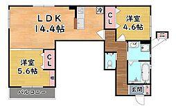 阪急神戸本線 六甲駅 徒歩5分の賃貸アパート 2階2LDKの間取り