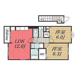 JR総武本線 八街駅 徒歩20分の賃貸アパート 2階2LDKの間取り