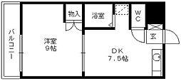 福岡県久留米市東合川3丁目の賃貸マンションの間取り