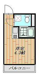 フォレストコート鷲宮 201号室 2階ワンルームの間取り