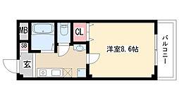 愛知県名古屋市天白区原5丁目の賃貸アパートの間取り