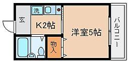 兵庫県神戸市兵庫区松原通2丁目の賃貸アパートの間取り